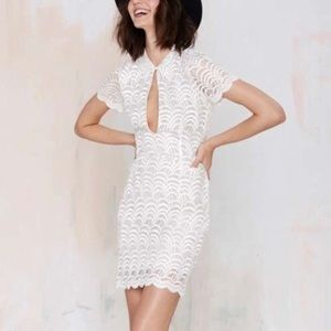 Stone Cold Fox White Lace Keyhole Dress